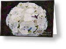 White Flower And Friendly Bee Mixed Media Painting Greeting Card