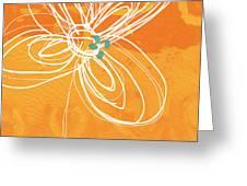 White Flower On Orange Greeting Card