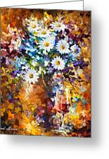 White Flowers - Palette Knife Oil Painting On Canvas By Leonid Afremov Greeting Card