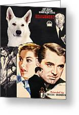 White German Shepherd Art Canvas Print - Suspicion Movie Poster Greeting Card