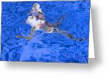 White Hair Blue Water 4 Greeting Card