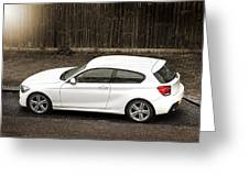 White Hatchback Car Greeting Card