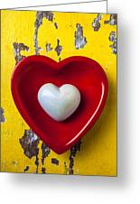 White Heart Red Heart Greeting Card