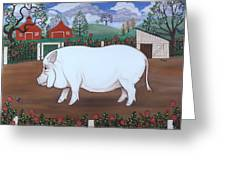 White Hog And Roses Greeting Card