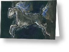 White Horse Minature Painting Greeting Card