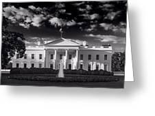 White House Sunrise B W Greeting Card