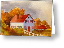 White House With Red Shutters Greeting Card