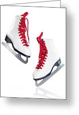 White Ice Skates With Red Laces Greeting Card