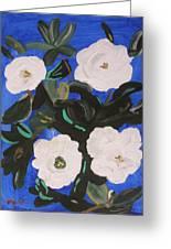 White Magnolias On Deep Blue Greeting Card