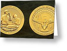 White Mountain Apache Tribe Code Talkers Bronze Medal Art Greeting Card