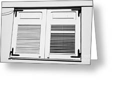 white painted sun shutter blinds on window of house in tacoronte Tenerife Canary Islands Spain Greeting Card