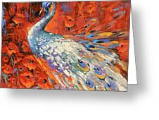 White Peacock And Poppies Greeting Card