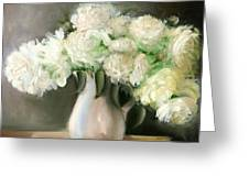 White Peonies Greeting Card