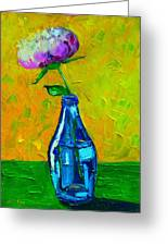 White Peony Into A Blue Bottle Greeting Card