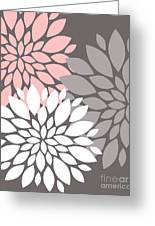 White Pink Gray Peony Flowers Greeting Card