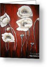 White Poppies Greeting Card by Elena  Constantinescu