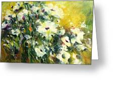 White Poppy Garden II Greeting Card