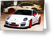 White Porsche Gt3rs Greeting Card