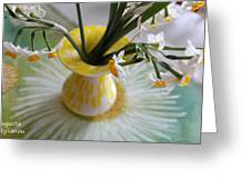 White Rays And Narcissus Greeting Card