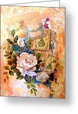 White Roses And Forget Me Nots On Decoupaged Background Greeting Card