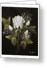 White Roses Greeting Card by Nancy Edwards