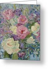White Roses And Statice Greeting Card