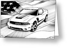 White Roush Mustang Greeting Card