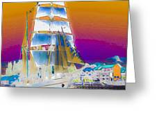 White Sails Ship And Colorful Background Greeting Card