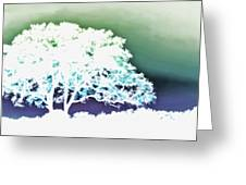White Silhouette Of Oak Tree Against Blue And Green Watercolor Background Greeting Card