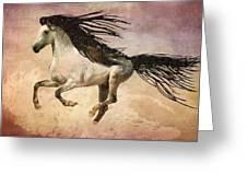 White Stallion Running Free  Greeting Card