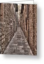 White Streets Of Dubrovnik No3 Greeting Card