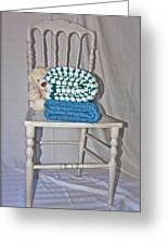 White Teddy And Chair Greeting Card