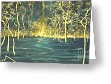 White Trees In The Blue Woods Greeting Card by Stefan Duncan