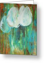 White Tulips On Green And Orange Greeting Card