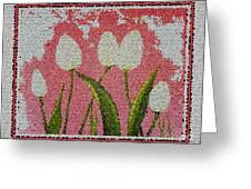 White Tulips On Pink In Stained Glass Greeting Card
