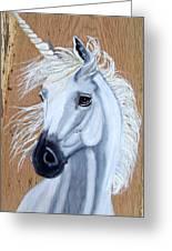 White Unicorn On Wood Greeting Card