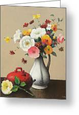 White Vase And Red Box Greeting Card by Felix Elie Tobeen