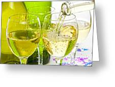 White Wine Pouring Into Glasses Greeting Card