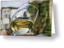 White Wine Swirling In A Glass Greeting Card by Patricia Hofmeester
