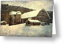 White Winter Barn Greeting Card