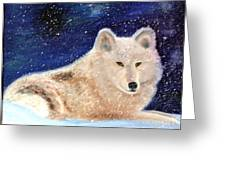 White Wolf In Winter Blizzard Greeting Card