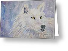 White Wolf Of The North Winds Greeting Card