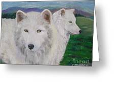 White Wolves Greeting Card