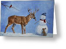 Whitetail Deer And Snowman - Whose Carrot? Greeting Card by Crista Forest
