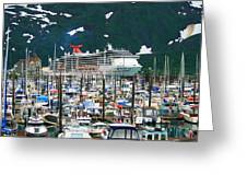 Whittier Alaska Boat Harbor Greeting Card