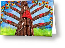 Why Pick On Me Guitar Abstract Tree Greeting Card