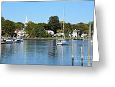 Wickford Village Waterfront Greeting Card