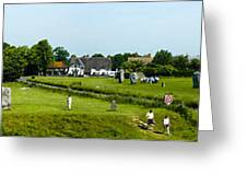 Wide Panorama Of Stone Circle Avebury Circle  Wiltshire Uk  Greeting Card