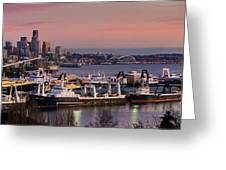 Wider Seattle Skyline And Rainier At Sunset From Magnolia Greeting Card