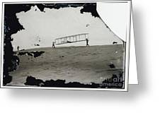 The Wright Brothers Wilbur In Motion At Left Holding One End Of Glider Greeting Card